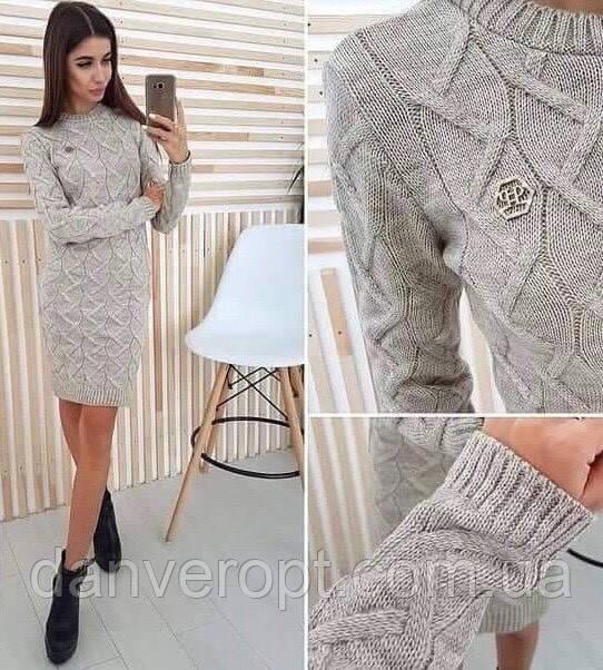Платье женское стильное модная вязка размер универсальный 42-46 купить оптом со склада 7км Одесса