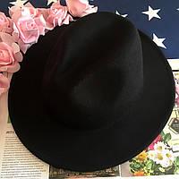 Шляпа Федора унисекс с устойчивыми полями черная, фото 1