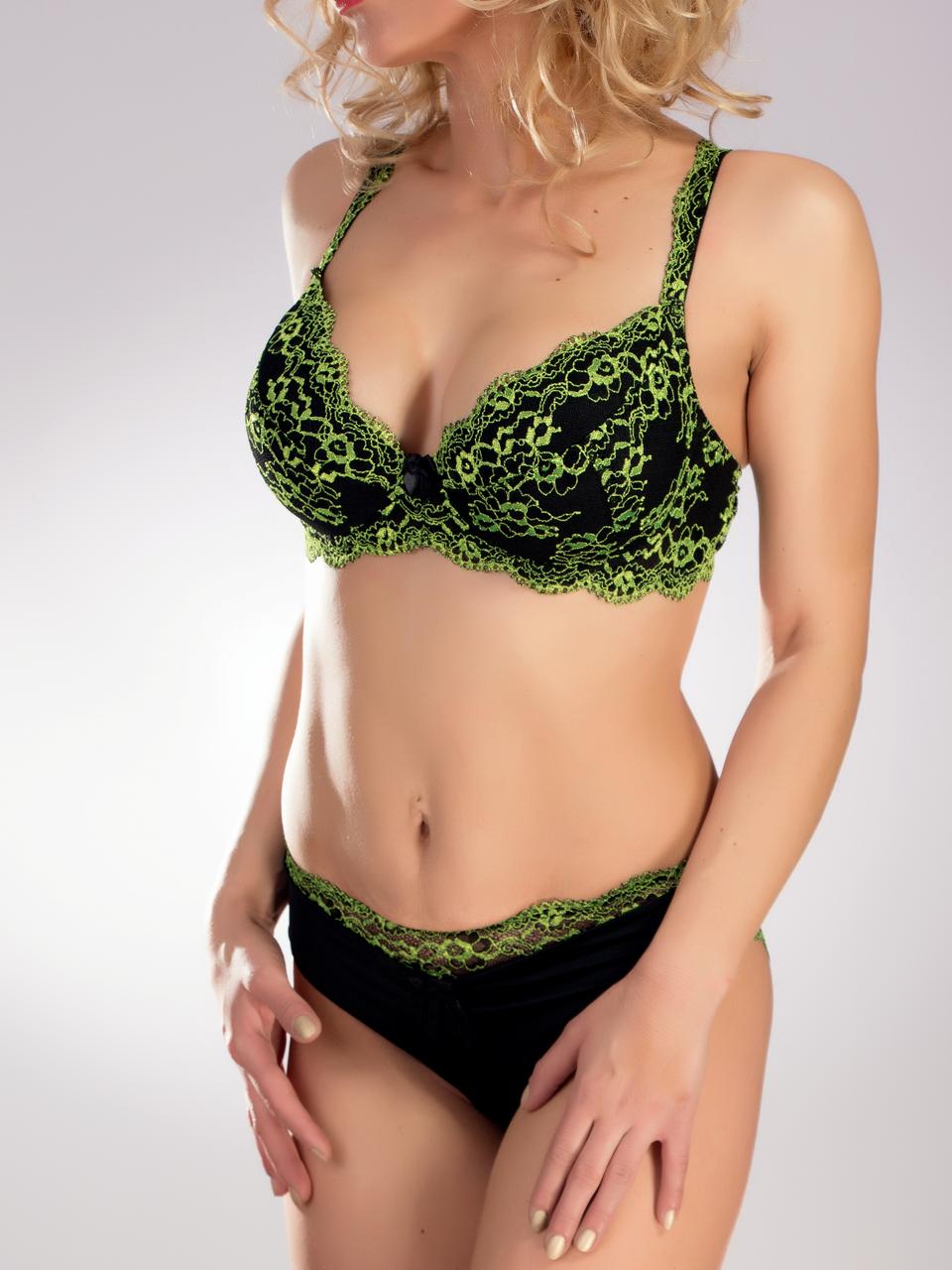 Комплект женского нижнего белья Acousma A6432D-P6432H, цвет Черно-Зеленый, размер 85D-XL