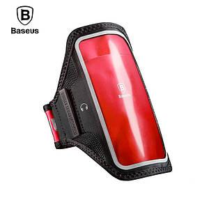 """Спортивный чехол тканевый на руку Baseus Flexible Wristband 5.8"""" LBMD-B09 (Чёрно-красный)"""