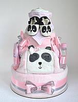 "Торт из памперсов с полотенцем и вещами 120 шт. ""Мила панда"", фото 1"