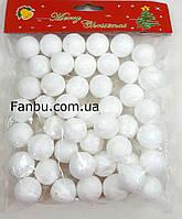 Белые пенопластовые шары 2см,новогодний декор снег, фото 1