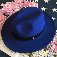 Шляпа Федора унисекс с устойчивыми полями в стиле Maison Michel синяя (электрик), фото 1