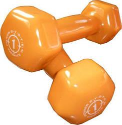 Гантели для фитнеса и аэробики обрезиненные Power System 1 KG PS-4024 Оранжевые (1 шт)