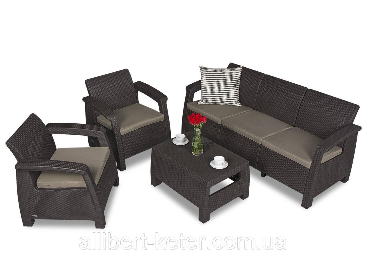 Набор садовой мебели Corfu Set Max Brown ( коричневый ) из искусственного ротанга