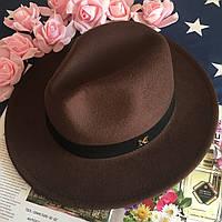 Шляпа женская Федора с лентой в стиле Maison Michel и устойчивыми полями коричневая, фото 1