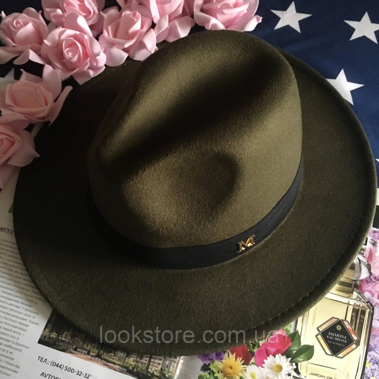 Шляпа Федора унисекс с устойчивыми полями в стиле Maison Michel зеленая (хаки)