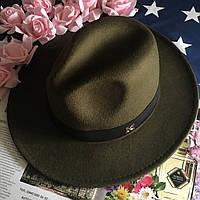 Шляпа Федора унисекс с устойчивыми полями в стиле Maison Michel зеленая (хаки), фото 1