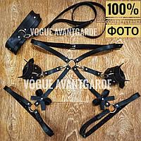 Комплект портупей бандаж на попу с наручниками из кожи ошейник поводок кожаный чокер на шею женский