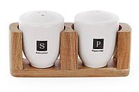 Фарфоровый набор для специй: солонка и перечница на деревянной подставке, 17см BonaDi 982-303
