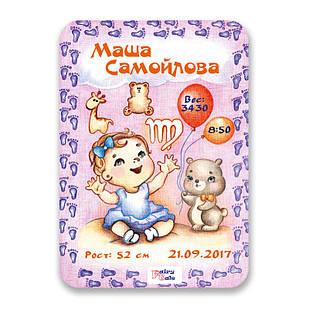 Метрика постер для новорожденных А4 формат Дева (FTMKA4DEVG)