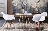 Стол обеденный Тауэр Вуд белый на буковых ножках круглый 60 см SDM Group (бесплатная доставка), фото 7