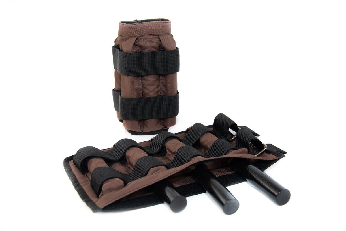 Утяжелительные манжеты регулируемые 2 кг, под грузы 2х2 кг, 500 гр - 8 шт (без грузов) коричневый