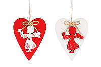 Новогоднее украшение-подвеска 12см Сердце с ангелом, 2 вида BonaDi 785-204