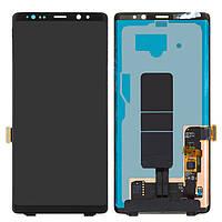 Дисплей Samsung N950FGalaxy Note 8, черный, с сенсорным экраном, оригинал (переклеено стекло)