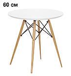 Стол обеденный Тауэр Вуд белый на буковых ножках круглый 60 см SDM Group (бесплатная доставка), фото 2