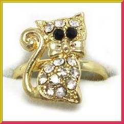 Кольцо на Палец Котик, под Золото с Белыми Стразам Безразмерное, Бижутерия, Аксессуары и Украшения