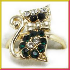 Кольцо на Палец Котик под Золото с Зелеными Стразами Безразмерное, Аксессуары и Украшения, Бижутерия