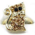 Кольцо на Палец Котик под Золото с Золотистыми Стразами Безразмерное, Кольца с Камнями Бижутерия, фото 2