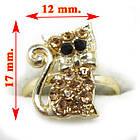Кольцо на Палец Котик под Золото с Золотистыми Стразами Безразмерное, Кольца с Камнями Бижутерия, фото 3