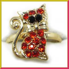 Кольцо Котик, под Золото с Красными Стразами, Безразмерное, Аксессуары и Украшения, Бижутерия
