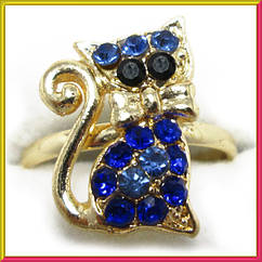 Кольцо на Палец Котик под Золото с Синими Стразами Безразмерное,Кольца и Перстни, Бижутерия