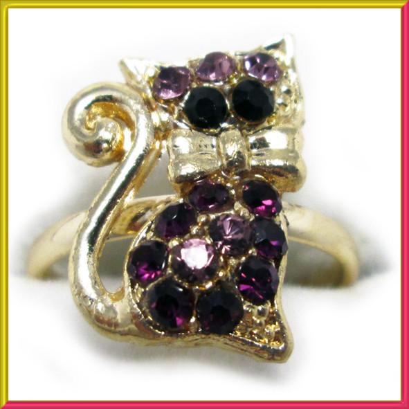 Кольцо на Палец Котик под Золото с Фиолетовыми Стразами Безразмерное, Бижутерия, Кольца и Перстни