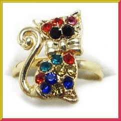 Кольцо на Палец Котик под Золото с Цветными Стразами Безразмерное, Бижутерия, Кольца и Перстни