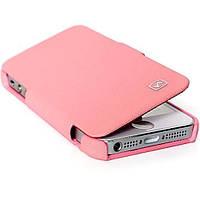 HOCO iPhone 5 - Baron series HI-L014 (Pink) (Чехол-книжка, материал: искусственная кожа высшего качества с рет