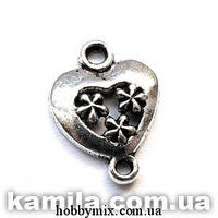 """Коннектор """"сердце"""" серебро (1,3х1,8 см) 12 шт в уп."""