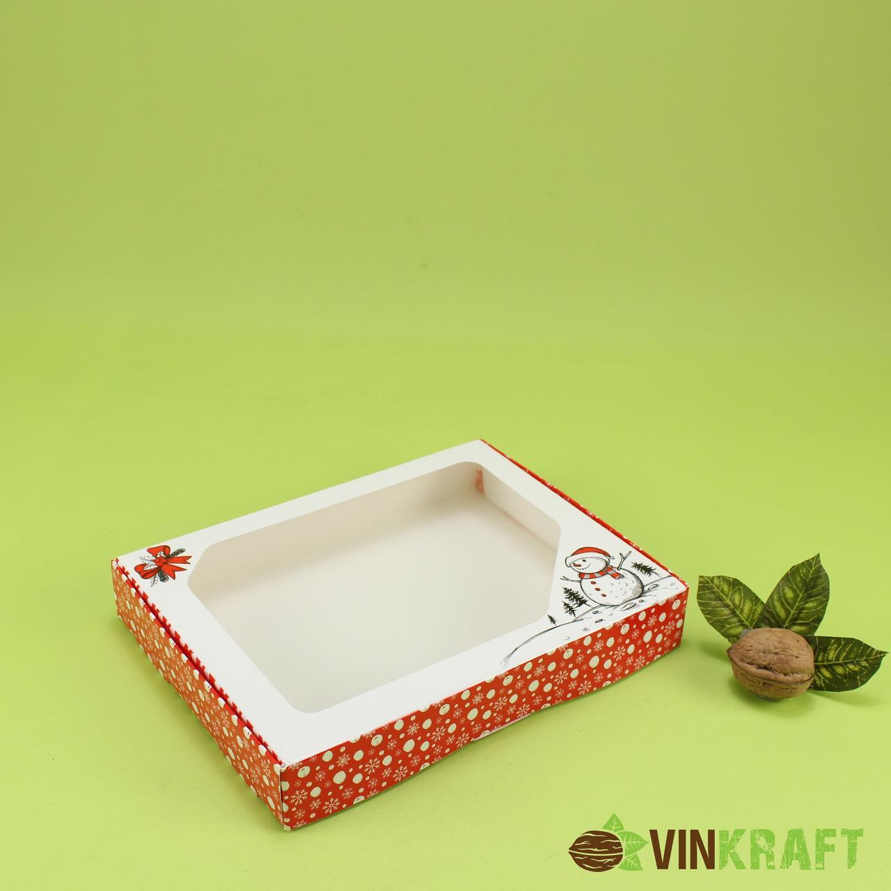 """Коробка 200*150*30 для пряника з вікном, """"Сніговичок"""" (з ламінуванням)"""