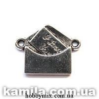 """Коннектор """"конвертик"""" серебро (2х1,5 см) 6 шт в уп."""