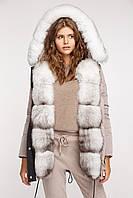 Куртка женская стеганная с мехом песца, фото 1