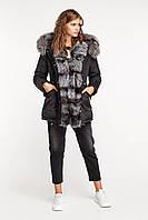 Парка зимняя женская стеганная с мехом чернобурки, фото 1