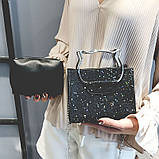 Женская классическая блестящая сумочка кошечка на цепочке черная, фото 2