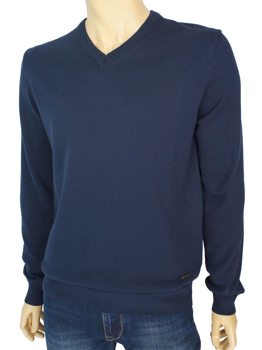 Мужской хлопковый свитер мыс Better Life BT-1002 Lacivert в темно-синем цвете