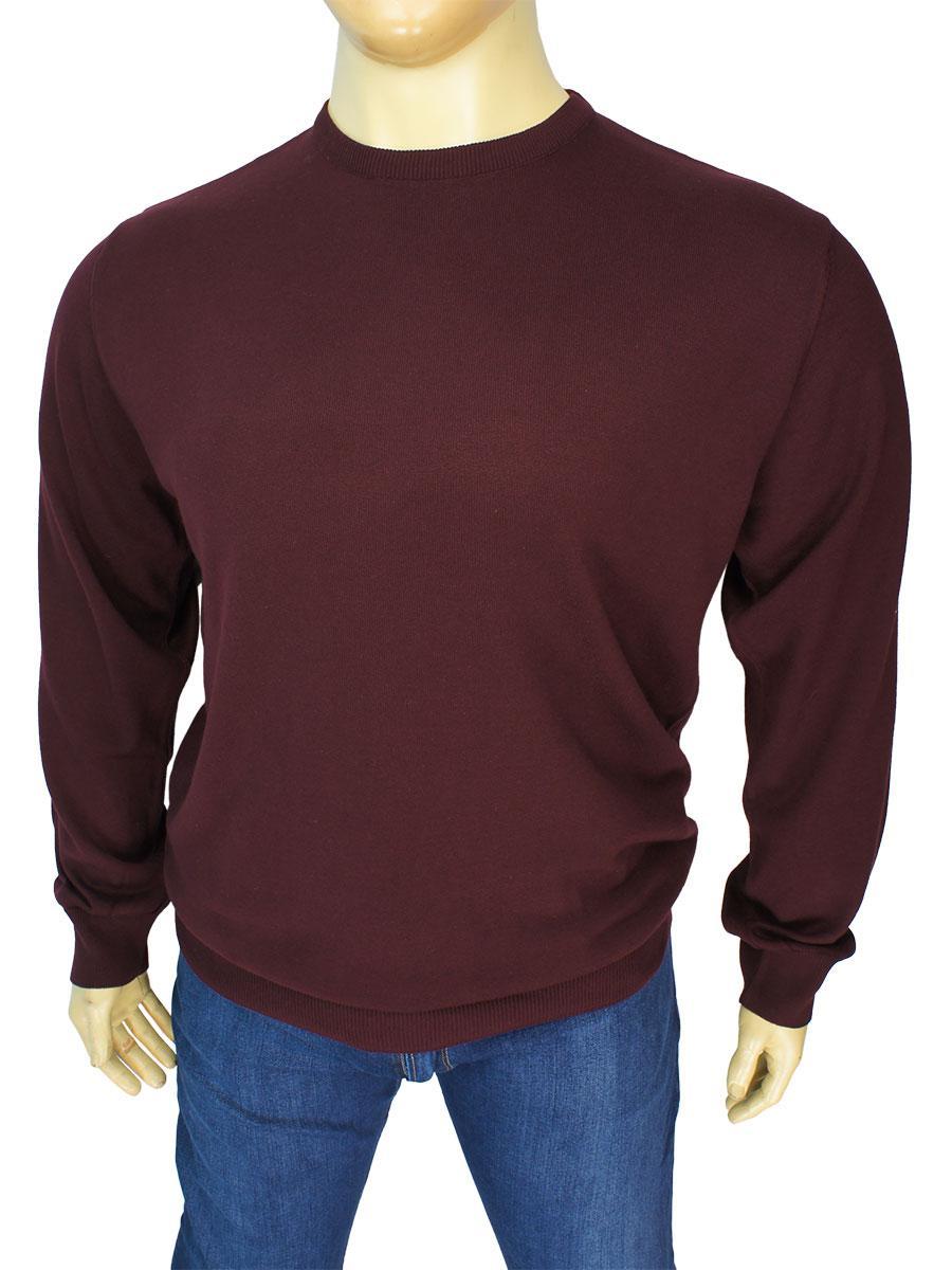 Демісезонний чоловічий бордовий светр Better Life BT-1101B Bordo у великому розмірі