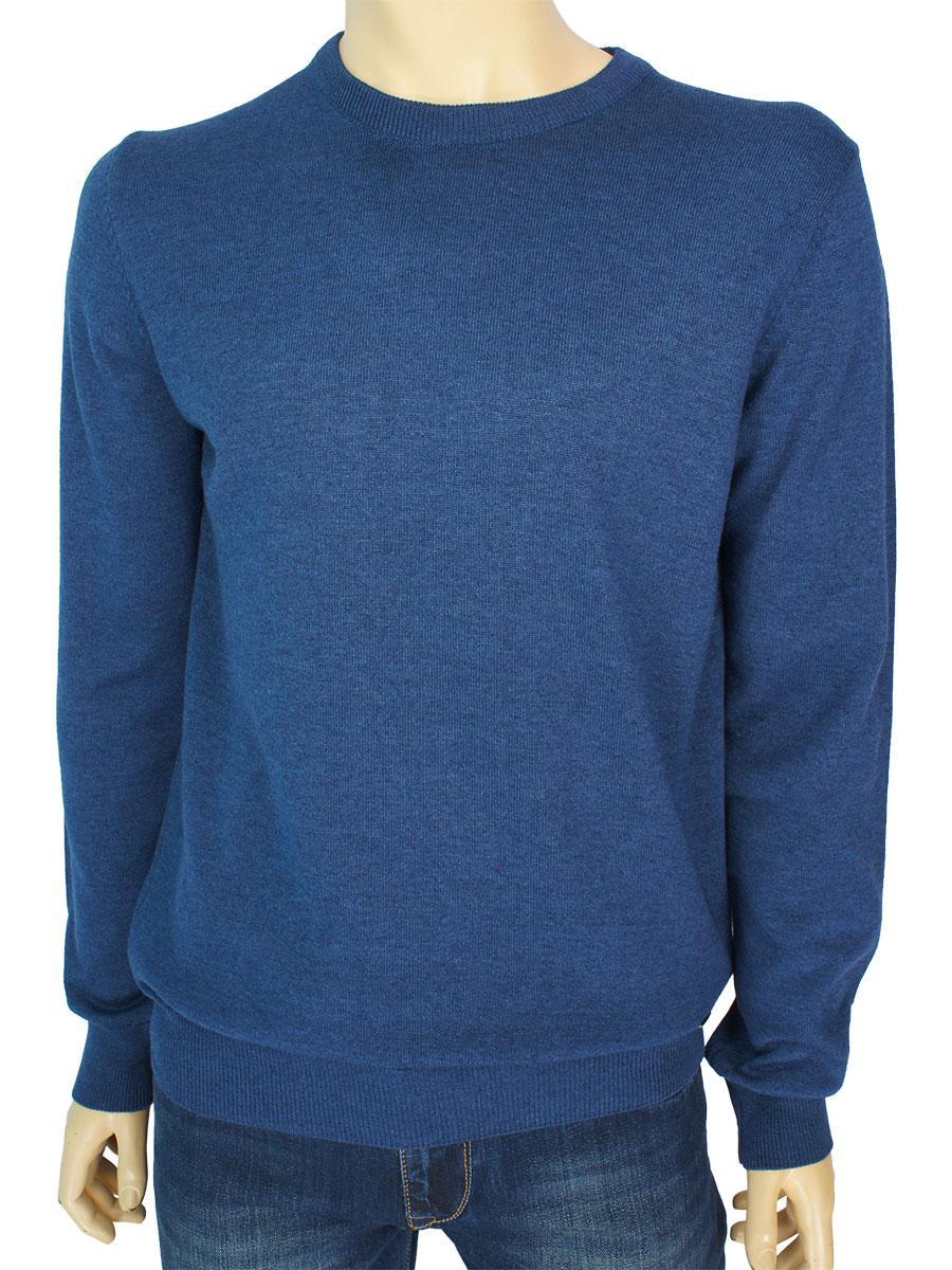 Однотонный мужской хлопковый свитер Better Life BT-1001 Indigo