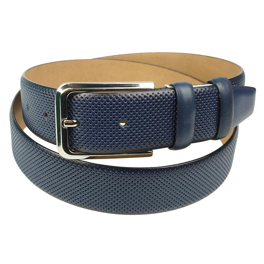 Качественный кожаный ремень для мужчин Bond 11802 classic blue в синем цвете