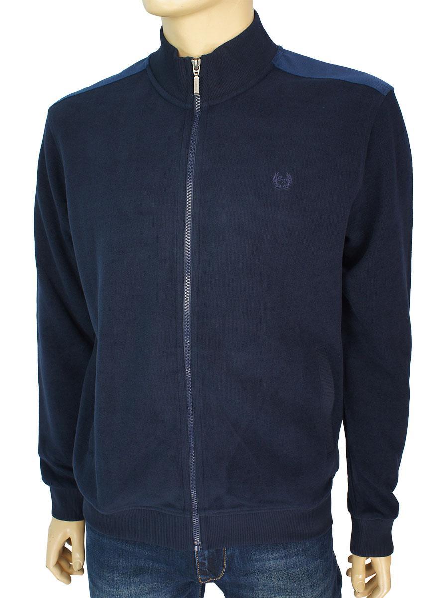 Мужская хлопковая кофта на змейке Caporicco 9207 Laci темно-синего цвета