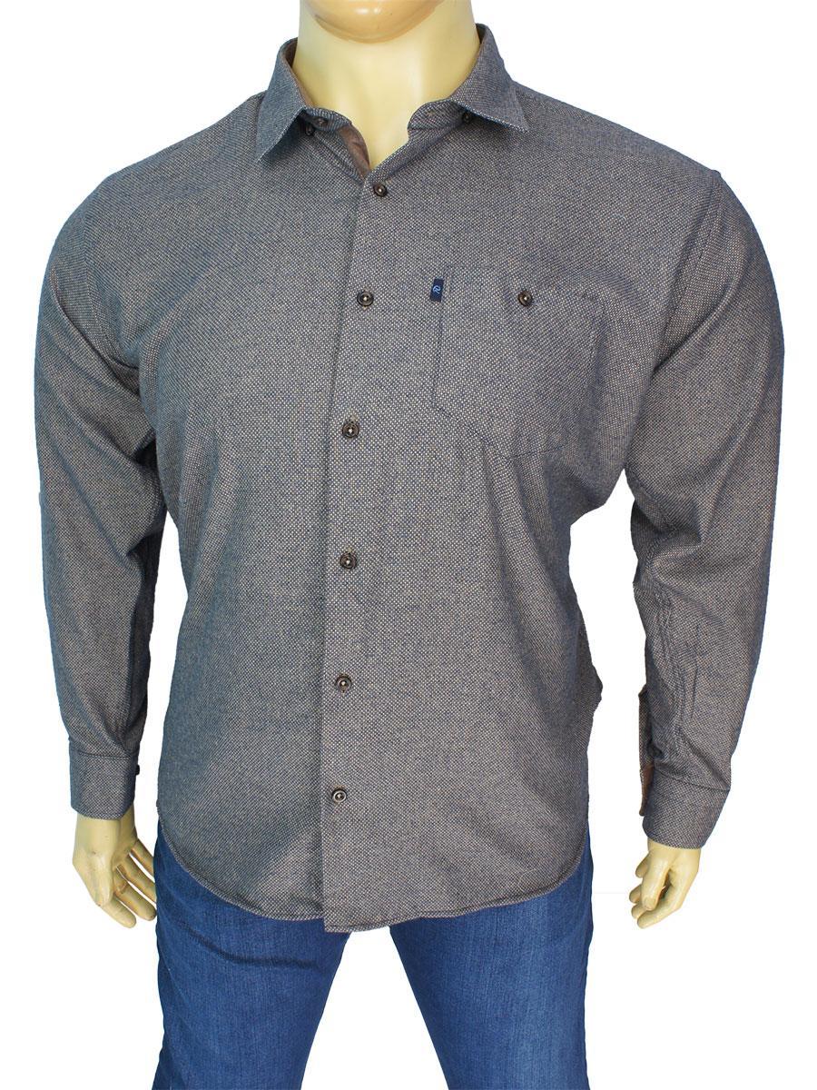 Коричневая хлопковая мужская рубашка Negredo 3000-BTL#243 большого размера