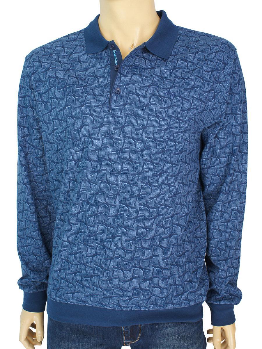 Стильный хлопковый мужской свитер Caporicco 9190 H Indigo в синем цвете