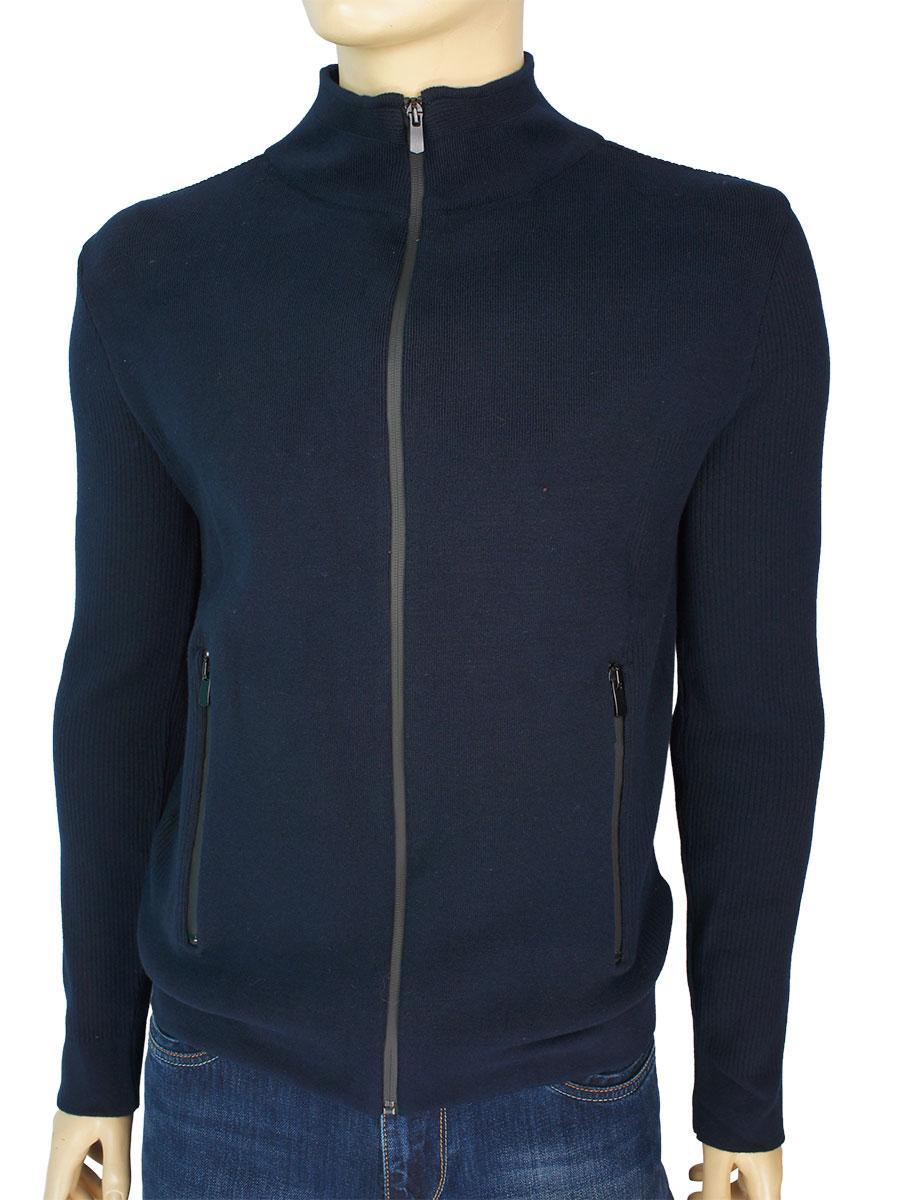 Однотонная мужская кофта на змейке TristStar 1174 Laci темно-синего цвета