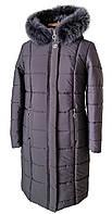 Зимнее женское пальто  большого размера 50-58 темная пудра
