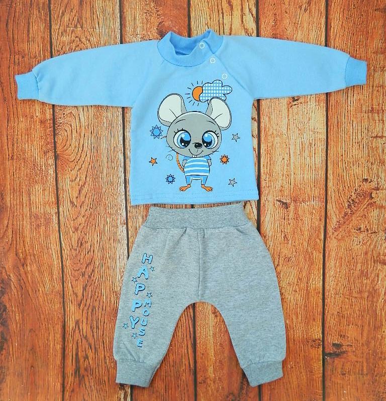 Тёплый костюмчик для мальчика Пинки - голубой на 74 см