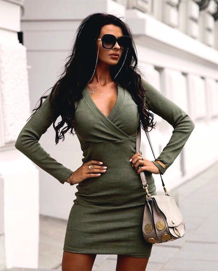 Платье женское, повседневное, теплое, ангора, облегающее, футлярное, с длинным рукавом, верх на запах,короткое, фото 1