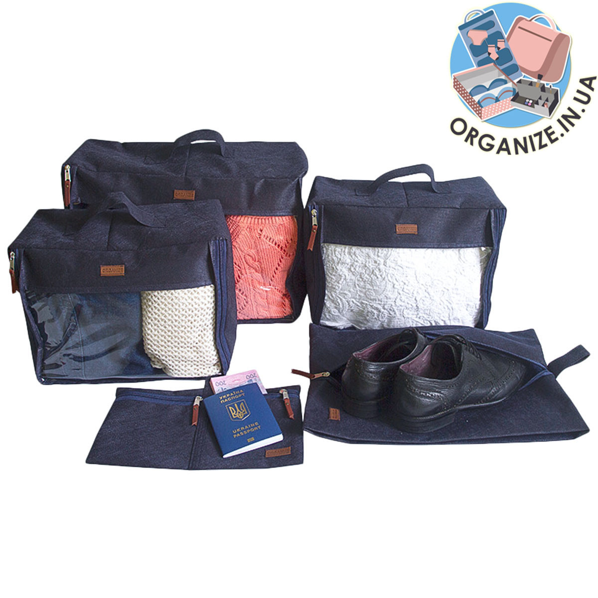 Набор сумок для вещей в чемодан 5 шт ORGANIZE (синий)