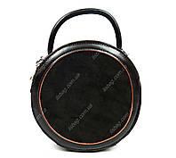 Маленькая кожаная сумка круглая Galanty, Коричневая