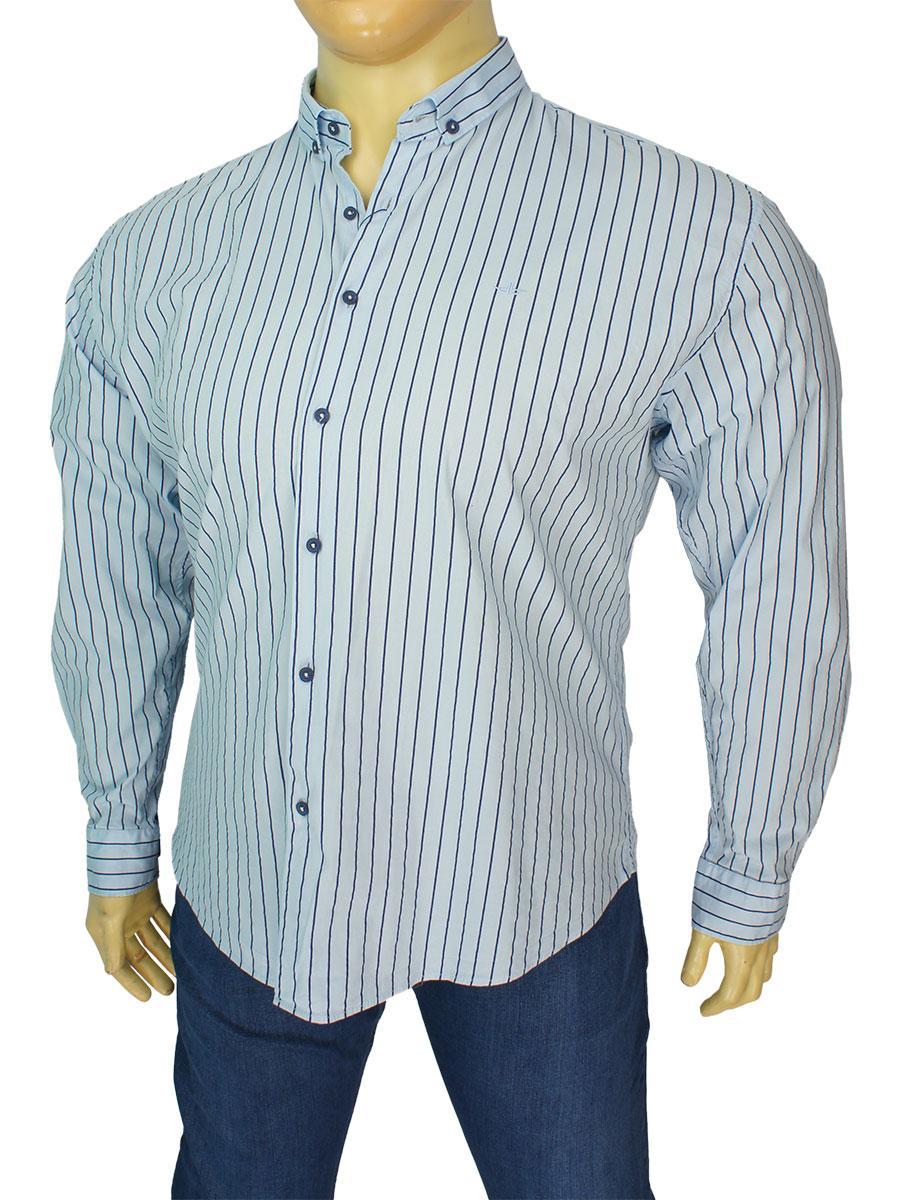 Чоловіча блакитна сорочка в смужку Desibel 2129 C-14 BT великого розміру