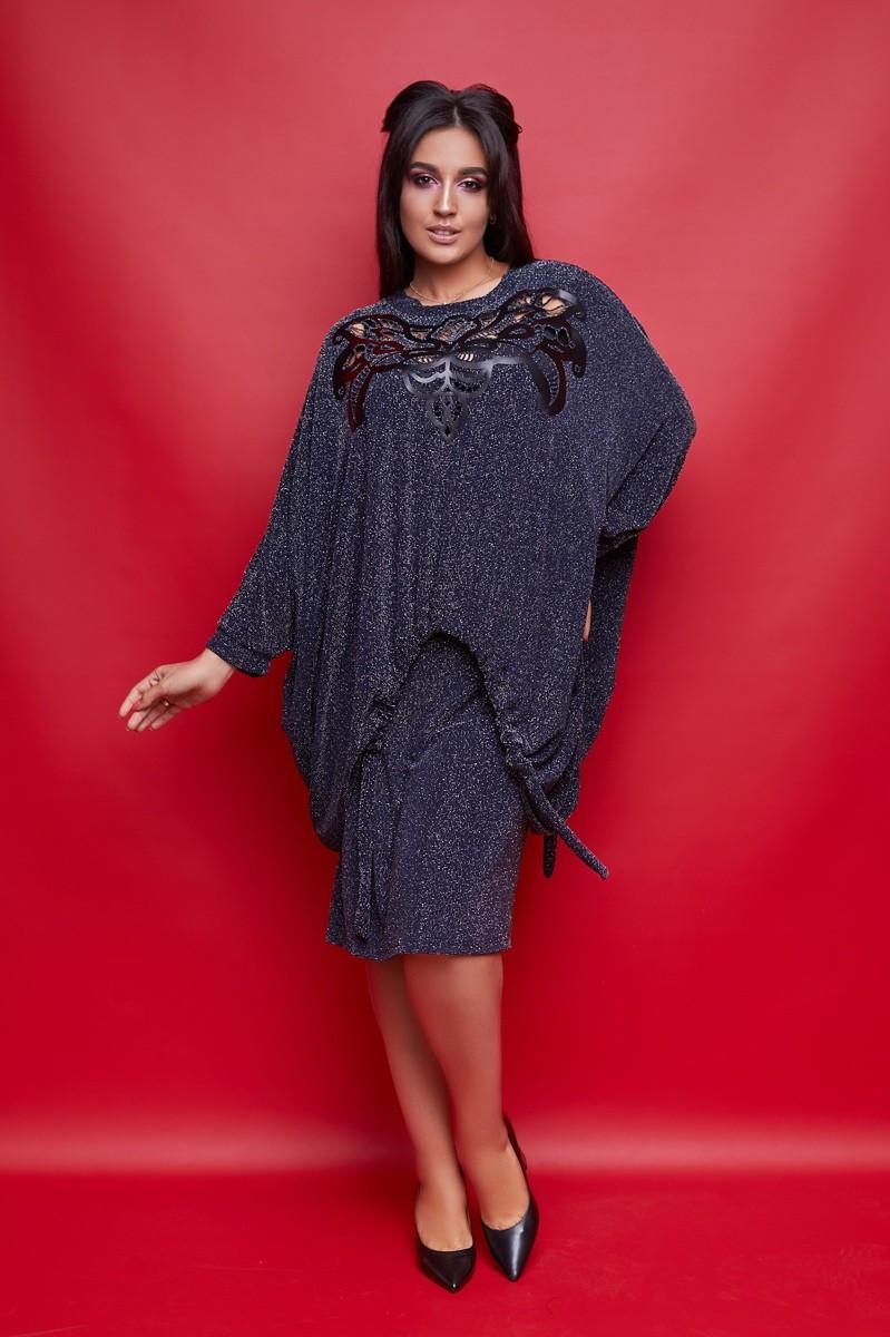 Женский нарядный юбочный костюм большого размера с рукавом летучая мышь.Размеры:50-62.+Цвета